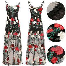 Sexy Womens Summer Cami Dress Vintage Evening Strappy Dress Embroidery Floral