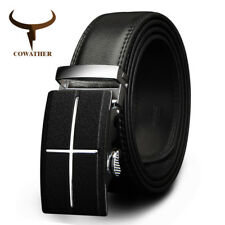MENS BELT BRAND COW GENUINE LEATHER BELTS MEN AUTOMATIC BUCKLE BLACK BROWN CZ039