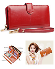 Genuine Leather Womens Wallet Coin Purse Clutch Hand Bag Money Phone Cosmetic