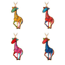 Women Acrylic Crystal Cute Giraffe Animal Pendant Sweater Animal  Necklace Chain