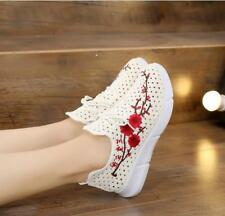 Womens Embroidery Floral Sneakers Lace up Stylish New Breathable Athletic Shoes