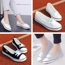 Women Fashion Canvas Flats Loafers Casual Breathable Flats Slip Comfy Shoes   eo