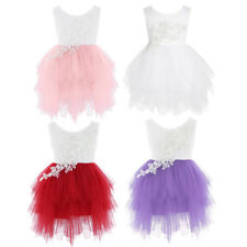 Kids Girls Lace Flower Dress Princess Party Wedding Bridesmaid Gown Formal Prom