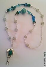 Torquoise Gemes Clear ID Badge Holder HANDMADE Beaded Lanyard Fashion Necklace