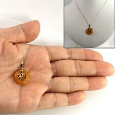 """14k Solid Yellow Gold BLESSING; 16mm Donut Shape Yellow Jade Pendant 0.9"""" TPJ"""