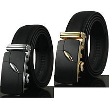 New Men Automatic Buckle Solid Black Genuine Leather Waist Strap Belt Waistband