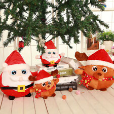 Christmas Deer Santa Claus Music Flash Doll Cartoon Short Plush Kids Toys Gifts
