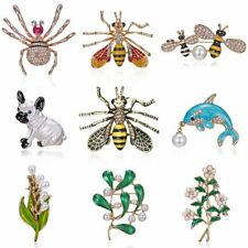 Vintage Animal Bee Dog Brooches Women Insect Spider Pearl Brooch Pin Jewelry