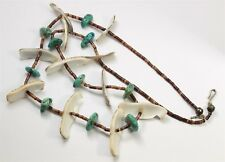 Vintage Zuni Sterling Silver Carved Bird Fetish Turquoise Heishi Bead Necklace
