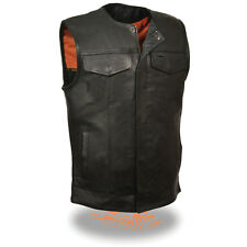 Milwaukee Men's Collarless Naked Leather Vest w/ Snap & Zipper Front *MLM3511*