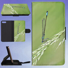 DAMSELFLY GRASS INSECT MACRO FLIP WALLET CASE FOR APPLE IPHONE PHONES