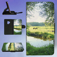 LANDSCAPE WATER MEADOW GREEN FLIP CASE COVER FOR SAMSUNG GALAXY PHONE