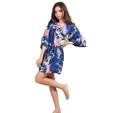 Womens Silk Satin Wedding Bride Bridesmaid Robe Floral Bathrobe Kimono Gown