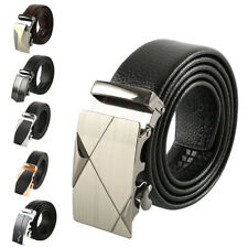 Fashion Leather Mens Automatic Ratchet Buckle Belt Waist Strap Black Belts N