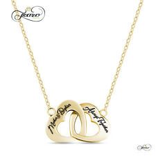 Sterling Silver Mother Daughter Necklace Gold Plated Heart Charm for Child Mom