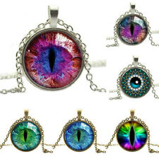 Vintage Dragon Cat Eye Glass Cabochon Silver Plated Pendant Necklace Jewelry New