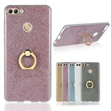 Luxury Glitter Gel TPU Case Finger Grip Ring Stand Cover For Huawei Phone Models
