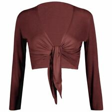 New Ladies Plain Tie Up Knot Front Bolero Shrug Cropped Long Sleeve Cardigan Top