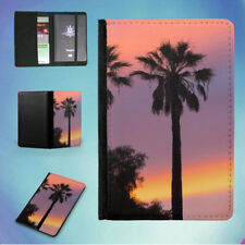 THREE PALM TREES SUNSET FLIP PASSPORT COVER WALLET ORGANIZER