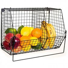 Wall Basket Fruit Organizer Folding Metal Storage Rack Mount Kitchen Bathroom