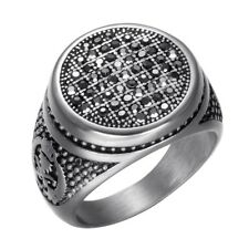Gothic Punk Rock Black Crystal Stainless Steel Titanium Wedding Gift Mens Ring