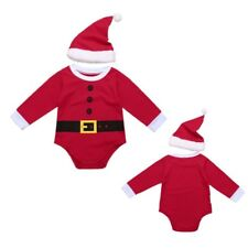 Baby Toddler Boys Girls Christmas Santa Romper Jumpsuit+Hat 2 Pcs Outfit Party