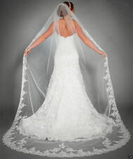 "1Layer White/ivory 220CM/86.6"" Cathedral Veil Lace Edge Bridal Wedding Veil+Comb"