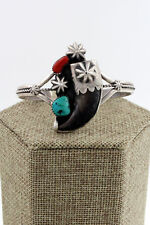 Navajo Sterling Silver Turquoise, Coral & Faux Bear Claw Cuff Bracelet