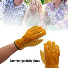 2 Pairs Heavy Duty Gardening Gloves Thorn Proof Leather Work Gloves Unisex US