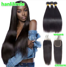 """Brazilian 100% Remy Human Hair Weave 3 Bundles With 4*4"""" Lace Closure Straight"""