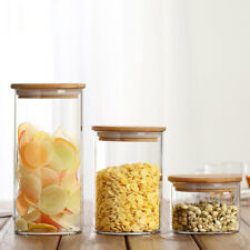 Clear glass kitchen storage Canister Jars with Baboom lid seal pot 255-1400ml