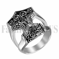 Men's Stainless Steel Retro THOR'S HAMMER MJOLNIR Wedding Ring Band Size 8-15