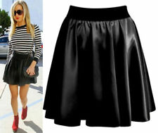 New Womens Ladies Elastic Waist Band Pvc Wet Look Flared Shiny Mini Skater Skirt