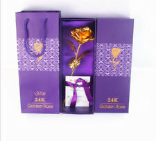 24K Plated Rose Flower Decoration Valentine's Day Gift for her With Box+Hand bag