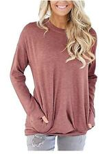 Unidear Women Casual Long Sleeve Round Neck Loose Blouses Tops with Pocket