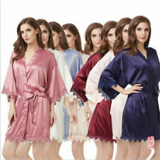 **Women Plain Silk Satin Matte color Lace Nightgown Bridal Bridesmaid Gown Robes