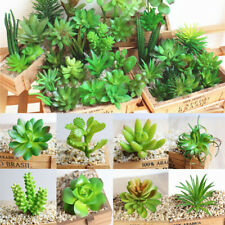 Fake Foliage Plant Artificial Green Succulents Plastic Flower Decor Office Home
