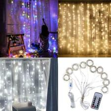 3M 300 LED Window Curtain Icicle String Fairy Lights Wedding Party Decor +Remote
