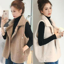 Korean Women Faux Lamb Fur Short Vest Sleeveless Jacket Waistcoat Coat Outerwear