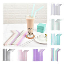 10x Food Grade Silicone Straws Set Reusable Drinking Straw W/ Cleaning Brush