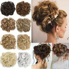 100% US Lady Clip in Hair Bun Cover Hair Extension Messy Curly Chignon Hairpiece