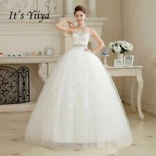 Wedding Dresses White Strapless Bride Gowns Real Photo Plus Size Lace Sequins