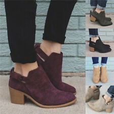 Women Buckle Block Low Heel Ankle Boots Ladies Hollow Out Casual Work Shoes Size