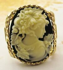 Grecian Goddess Large Cameo Ring 14k Rolled Gold