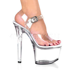 "SEXY CLEAR 7"" Stiletto Heel Ankle Strap Pf Sandal Sky-308"