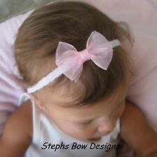 LIGHT PINK SHEER DAINTY HAIR BOW HEADBAND BABY TODDLER