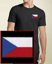 Czech Republic Flag EMBROIDERED Black T-Shirt ALL SIZES