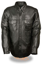 Men's Leather Naked goat lightweight Shirt with Snap Down Collar (Black)T NEW