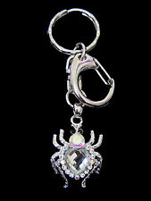 CRYSTAL SPIDER KEY CHAIN RING HOLDER SILVER TONE 7COLORS