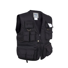 BLACK MILITARY TRAVEL VEST HUNTING , FISHING , CAMPING